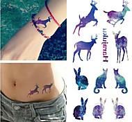RC-Tatoeagestickers-Waterproof-Dieren Series- voorDames / Heren / Volwassene-Blauw-PVC-1pcs- stuks10.5*6cm-rabbit