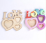 1X  Heart Love Letter White Base Wood Picture Frame Hand DIY Wood Photo Frame
