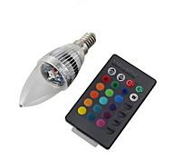 3W E14 Luci LED a candela C35 1 LED ad alta intesità 240 lm Colori primari Controllo a distanza / Decorativo AC 220-240 / AC 110-130 V1