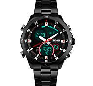 Masculino Relógio de Pulso Quartz LED / Calendário / Cronógrafo / Impermeável / Dois Fusos Horários / alarme Aço Inoxidável Banda Preta