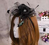 flor de la pluma de la joyería del pelo del sombrero velo fascinator para la fiesta de la boda