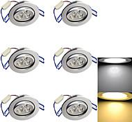 3W Einbauleuchten 3 High Power LED 280 lm Warmes Weiß / Kühles Weiß Dekorativ AC 85-265 / AC 220-240 / AC 110-130 V 6 Stück