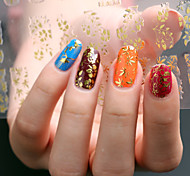 3D Nail Art Full Nail Sticker Golden Color ,60 Decals/Sheet,5 Different Styles in 1 Sheet,For 5 Pairs of Hands-YILIN-84G