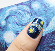 Abstract Blue Van Gogh's Sky Nail Jewelry