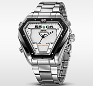 WEIDE® Men's Full Steel Sports Watch Quartz LED Analog Irregular Shape Wristwatch