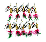 Hengjia 10pcs Spoon Metal Fishing Lures 75mm 10g Spinner Baits Random Colors