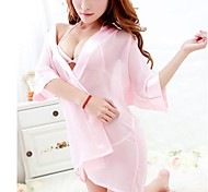 Sexy Womens See Through Sleepwear Robes Lingerie Pajamas Nightgown Bathrobe With Bra And Underwear