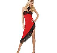Dançarino sexy sem alças assimétricas borlas Vestido Vermelho Tango Dança Costume