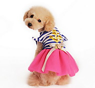 Cat / Dog Dress Pink / Yellow Summer Stripe / Nautical / Bowknot Fashion / Holiday, Dog Clothes / Dog Clothing-Lovoyager