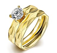 Individual Creative Unisex's  White Zircon Gold-Plated Titanium Steel Couple Rings(Golden)(1Pc)