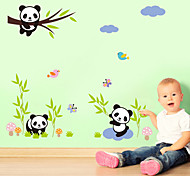 Wall Stickers Wall Decals, Cute Cartoon Panda Bamboo PVC Wall Sticker