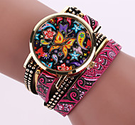 Lady's  Quartz Analog Flower Case Flower Leather Band Bracelet Wrist Watch Jewelry Cool Watches Unique Watches