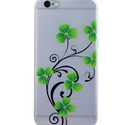 Green Flower Translucent Luminous TPU Soft Phone Case for iPhone 6/6S