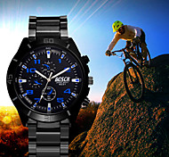 Men's White Case Black Stainless Steel Band Wrist Dress Watch Cool Watch Unique Watch