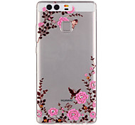 Pink Flower Pattern Embossed TPU Case for P9/ P9 Lite
