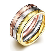 Simple Graceful Unisex's  Roman Numberals Gold-Plated Titanium Steel Couple Rings(Golden,Rose Gold,Silver)(1Pc)