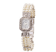 Lady's Pearl Silver Band Analog Bracelet Wrist Watch Jewelry for Wedding Party Cool Watches Unique Watches