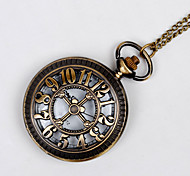 Unisex Pocket Watch Large Hollow Retro Fashion Lucky Numbers Quartz Flip Pocket Watch