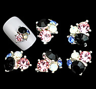 Lovely Mental Jelly Color Diamond Flower  Nail Jewelry