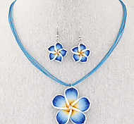 European Style Fashion Sweet Retro Flower Wax Rope Necklace Earring Sets