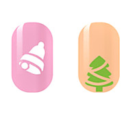 White Bell Green Tree Hollow Nail Stickers