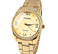 Women's Fashion Watch Imitation Diamond Quartz Stainless Steel Band Gold