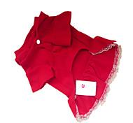 Собаки Платья Красный Одежда для собак Зима Классика