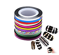12 Rolls/Set, Gold and Silver Nail Line Strips,12 Colors Mixed,18 Meters/Roll--Nude packing