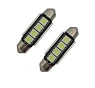 1.5W Festoon Luz de Decoração 4 SMD 5050 80-90lm lm Branco Frio DC 12 V 2 pçs