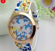 Women's Fashionable Retro Pattern Pastoral Style Silicone Watch Silicone Band