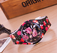 Women's European Style Flower Print Silicone Watch Fashion Watch Cool Watches Unique Watches