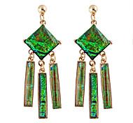 Green Imitation Gemstone  Drop Earrings