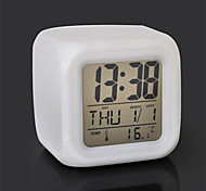 7 Color Change Digital Alarm Clock LED Thermometer Night Colorful Glowing Toys