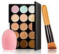 15 cores da paleta creme para o rosto contorno maquiagem corretivo + maquiagem luva escova de limpeza de lavagem + escova do pó de alta