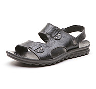 Aokang Men's Leather Slippers Black