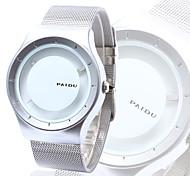 Men's Wrist watch Unique Creative Watch Quartz Stainless Steel Band Silver Brand