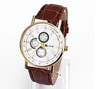 Men's Casual Fashionable Three Six-pin Dial Watch Leather Band Cool Watch Unique Watch
