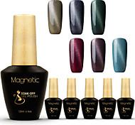 Azure 12ml 6Pcs/Lot Cat Eye Magnetic UV Nail Gel Polish UV Easy Soak Off Gel Polish (#75+#76+#77+#78+#79+#81)