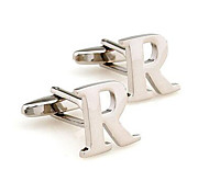 Men's Fashion Letter R Silver Alloy French Shirt Cufflinks (1-Pair)