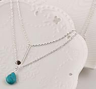 Женский Ожерелья с подвесками Слоистые ожерелья Свисающие Бирюза Мода Камни по месяцу рождения Простой стиль Многослойный бижутерия