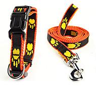 Dog Collar / Leash Adjustable/Retractable Black / Yellow Nylon