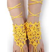 Frauenhandgemachte Häkelarbeit Baumwolle barfüßigsandelholze Yoga Fußkette Fußkette Netz