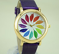 Women's European Style Fashion New Round Colorful Leaves Casual Watches