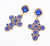 Fashion Simple Cross Blue Crystal Rhinestone Earrings