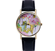 Flamingo Tropical Watch ,Vintage Style Leather Watch,Women Watches,Unisex Watch,Men's Watch,Palm Leaves,Green Cool Watches Unique Watches