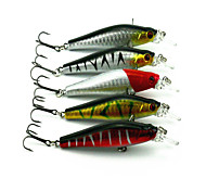 8cm 8.9g/Pcs Plastic Bionic Lure Minnow Lure 3D Eyes Bait Suit 5 Pcs/set