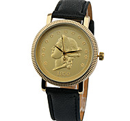 Commemorative Coins Watch,Vintage Style Leather Watch,Women Watches,Boyfriend Watch,Men's Watch,Black and White