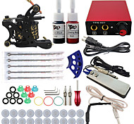 Professional Complete 1 Tattoo Machine Kit 2PCS Ink Power Supply Needle Grips Tips