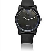 Masculino Relógio de Pulso Quartzo Impermeável Silicone Banda Preta Branco Preto