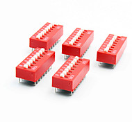 DIY 8-Position 16-Pin 2.54mm Pitch Dip Switches (5-Piece Pack)